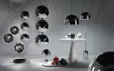New Collection 2014 I Salone Del Mobile I Bell Pendant Lighting by Tom Dixon Interior Architecture, Interior And Exterior, Interior Design, Tom Dixon Etch, Incandescent Bulbs, Industrial Furniture, Chrome Plating, Messing, Furniture
