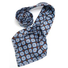 Petronius 1926 italian handmade blue with white and brown ornament 5 fold silk tie 8,5 cm ( art. 483 ), $149
