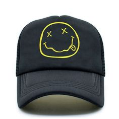 45898d5343890 Climate - Gorra trucker negra de Smiley por ✡14.95✡  CapsandHatsEs   capsandhatsES