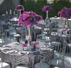 purple & silver elegance    #weddingflowers  #weddingdecor  #purplecenterpiece #tabledecor    www.myfloweraffair.com