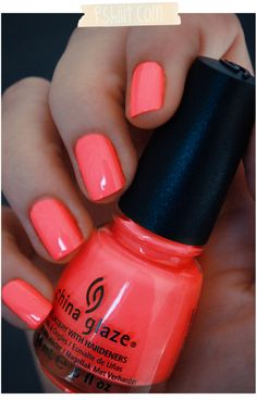 Flip flop fantasy nail polish is the perfect bright summer shade! It pops agains. Flip flop fantasy nail polish is the perfect bright summer shade! It pops against tan skin, and is Bright Coral Nails, Nails Yellow, Coral Nail Polish, China Glaze Nail Polish, Nail Polishes, Bright Colors, Polish Nails, Pink Nail, Summer Nail Polish Colors