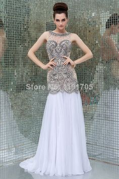 Free shipping Elegant High Backless Beading White Prom dress 2014 Mermaid Floor Length Evening Gowns 2014 New Style $186.00