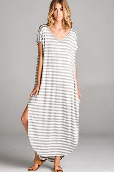 Abigail Grey Stripe T-Shirt Maxi Dress - Find the perfect outfit for any occasion at ShopLuckyDuck.com