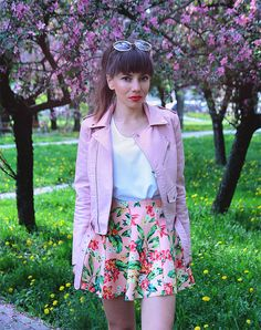 pastel pink biker jacket and tropical printed skater skirt ootd
