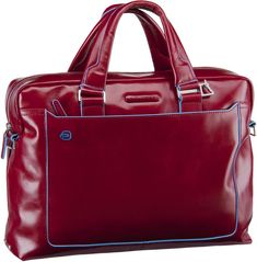Piquadro Blue Square Tote Bag Quer - Rosso Blue Square, Laptop, Tote Bag, Bags, Notebook Bag, Suitcase, Handbags, Leather, Tote Bags