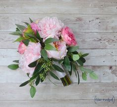 pink peony bouquet eucalyptus bouquet hot by blueorchidcreations