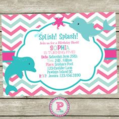 Personalized dolphin birthday party invitations diy printable dolphin pool party invitation perfect for your next birthday bash with matching printables to pull filmwisefo