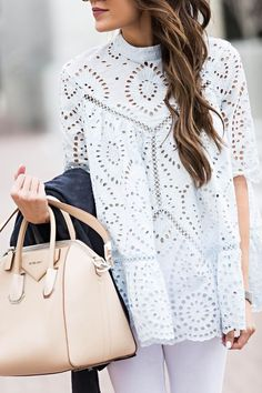Eyelet top. Givenchy bag.