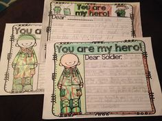Amazing writing task freebie where students write to someone in the military. Prompts are great for first and second grade but could be tailored for elementary as well.