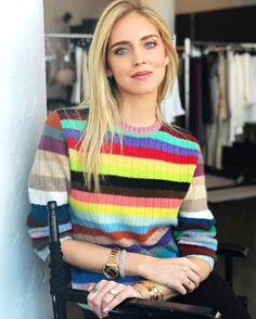 5a908f7e302 Spott - Chiara Ferragni wears a multicolored cashmere and merino stripe  knitted top by Gucci