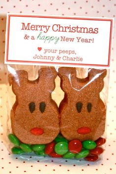 Merry Christmas, Love your peeps! Cute little Christmas gift for the neighbors!from you next door peeps! Christmas Goodies, Christmas Treats, Holiday Treats, Holiday Fun, Holiday Gifts, Christmas Nibbles, Winter Treats, Thanksgiving Treats, Holiday Foods