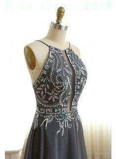 Perlenstickerei Abendkleider U-Ausschnitt Strass Sexy Chiffon Abendkleider # VB1015