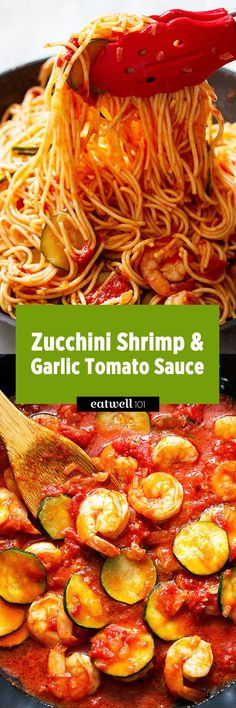It's getting cold outside, and you know those times when you just need really comforting food and you need it really fast, right? This zucchini shrimp pasta with a deep, thick tomato sauce ma… Fish Dishes, Seafood Dishes, Seafood Recipes, Vegetarian Recipes, Cooking Recipes, Healthy Recipes, Healthy Foods, Free Recipes, Keto Recipes