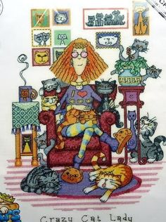 CRAZY-CAT-LADY-Peter-Underhill-Cats-Rule-Cross-Stitch-Chart-HERITAGE-CRAFTS