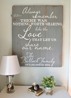 Always remember there was nothing worth sharing like the love that let us share our name || wood sign by Aimee Weaver Designs