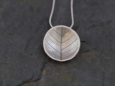 Recycled Fine Silver Leaf Skeleton Dome Pendant Necklace, Handmade recycled fine silver jewellery, pmc silver clay necklace