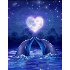 Read the full title Love Dolphin diamond painting 5D DIY full Square drill diamond Embroidery Rhinestone Mosaic