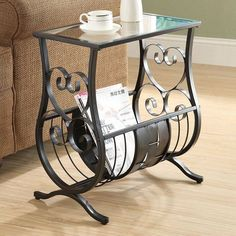 Monarch Metal Magazine Table with Tempered Glass Top - Satin Black - I 3314