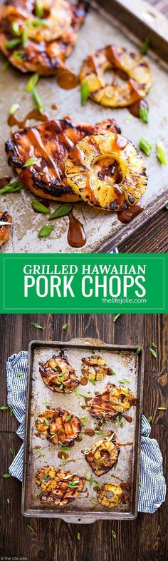 These Grilled Hawaiian Pork Chops are an easy recipe for a quick weeknight dinner. It's really easy to marinate in things like soy sauce and brown sugar and goes great with grilled pineapple and rice. This mouthwatering sweet and savory dish is the perfec Quick Weeknight Dinners, Easy Meals, Hawaiian Pork Chops, Pineapple Pork Chops, Cooking Recipes, Healthy Recipes, Grilling Recipes, Healthy Meals, Vegetarian Recipes