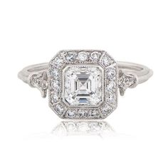 Are you looking for a Vintage Asscher Cut Engagement Ring? Take a look at this beautiful platinum and diamond vintage engagement ring. GIA Certified.