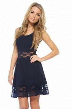 AX Paris Women s Chiffon Lace Cut Out Skater Navy Dress (Blue 82119d55b