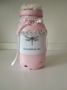 Sweetest gift for a friend.. Glass mason  friendship jar detailed one of a kind! $23-