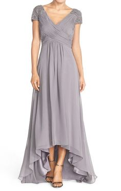 bfd44e63a66 MACloth Straps V Neck Cap Sleeves Hi-Lo Chiffon Evening Gown Silver Mother  of the