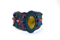 Yellow Agate Bracelet Bead Embroidered Cuff от TaitallasHandmade