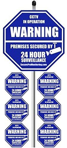 1 REAL CCTV Security Camera Home Alarm Yard Sign 9 x 9 with 36 Long Post with 6 Security Alarm System Stickers White  Blue ** Check out the image by visiting the link.