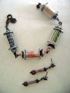 paper beads inside plastic tubing