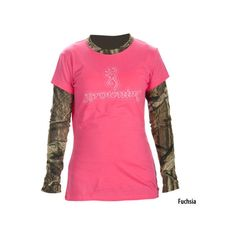 Browning Womens Camo Layered Long-Sleeve Tee - Gander Mountain ($30) ❤ liked on Polyvore featuring tops, t-shirts, shirts, crew neck t shirt, long-sleeve shirt, t shirt, collared shirt and pink camo shirt