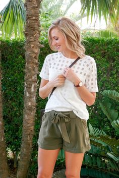 Stay Stylish While Working from Home // Olive Green Tie Shorts (via Sequins at Breakfast)