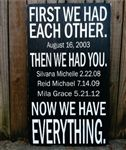 "12""x24"" wood signs - First We Had Each Other - personalized with wedding date and children's birth dates - expressmywalls.com"