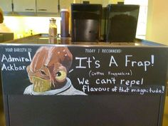 It's a Frappe! Admiral Ackbar from Star Wars is your barista today.