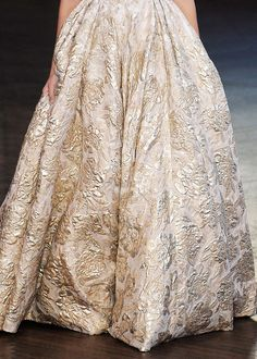 love the tapestry inspired print on this blush and gold wedding dress by Berta
