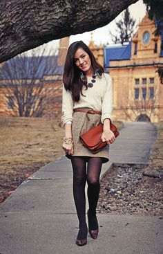 Tights – on days when you want to wear a skirt or a dress (or even shorts) and the temps outdoors just won't allow it, you can keep your legs warm in tights. Aside from that, wearing tights underneath skirts and dresses also give your outfit a preppy look. Go with colorful tights if you want a fun look or keep it neutral for a more subdued and grown up look, it all depends on what outcome you want to achieve.