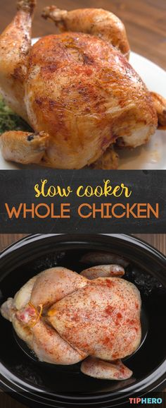 Tis' the season for the slow cooker and today we are cooking up a whole chicken in our crockpot. That's right a slow cooked, juicy chicken right in the crockpot. The key to this delicious chicken recipe — aluminum foil. With this easy recipe you can skip Crock Pot Slow Cooker, Crock Pot Cooking, Slow Cooker Recipes, Crockpot Recipes, Cooking Recipes, Cooking Ideas, Cooking Games, Thai Cooking, Cooking Rice