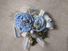 """Купить Брошь """"Морское побережье"""" - голубой, брошь в стиле бохо, украшение в стиле бохо"""