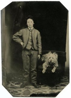 Boy and his dog, tintype...Love this dog!
