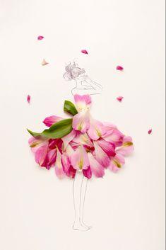 Drawing Wallpaper, Flower Dresses, Dresses Art, Flower Fashion, Fashion Art, Fashion Design Sketches, Little Flowers, Flower Art, Flower Girls