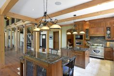 Beautiful Discovery Dream Homes Timber Frame Kitchen in our Spruce Meadows Home  #Kitchen #SpruceMeadows #TimberFrame #Custom #DiscoveryDreamHomes
