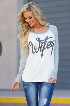 Wifey Ragland Top - Ivory from Closet Candy Boutique