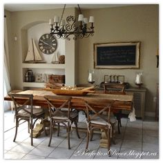 Kitchen Eating Area Reveal, open kitchen  ideas, eat in area ideas, harvest table, X-back madeleine chairs, wood tones, decorating a kitchen, open eating area, open shelving ideas, burlap runner, chalkboard wall art ideas.