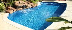 Junior Hawaiian - 7.55m x 3.7m, 1.0m - 1.75m depth. http://www.sapphirepools.com.au/swimming-pools/junior-hawaiian/
