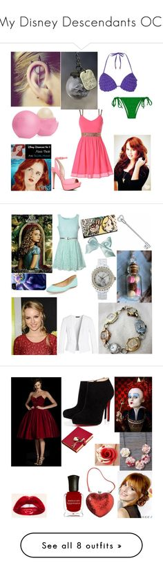 """My Disney Descendants OCs"" by becca-h-c ❤ liked on Polyvore featuring Dorothy Perkins, Disney, Eos, ALDO, Glamorous, Ash, White House Black Market, Burton, Christian Louboutin and Jonathan Aston"