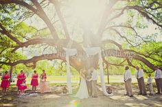 Ceremony. Perfect country wedding under the old oak tree :)