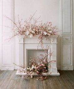 Beautiful white fire place dressed for a spring wedding. With cherry blossom tree and pink flowers ready for an English country house Floral Wedding, Wedding Bouquets, Wedding Flowers, Flower Bouquets, Wedding Dresses, Art Floral Japonais, Wedding Fireplace, Flower Installation, Modern Wedding Inspiration