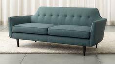 Gia Apartment Sofa in Teal 74 W x 32 D x 31.5 H