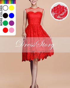 Lace Tulle Midi Dress  Red Lace Dress  Fit and Flare by DressStory, $109.99
