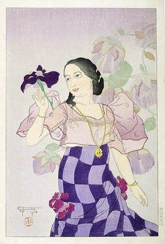 Portrait of a Chamorro Woman - Violet - Paul Jacoulet